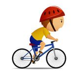 Bicyclist in yellow shirt of leadership, on blue bicycle. — Stock Vector