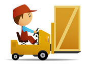 Yellow loader with wooden box on it. — Stock Vector