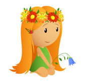 Cute little girl with flower wreath and in bell in the hand — Stock Vector