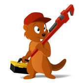 Cartoon beaver plumber with wrench and tool box. — Stock Vector