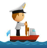 Cartoon captain sailor in uniform on the ship. — Stock Vector