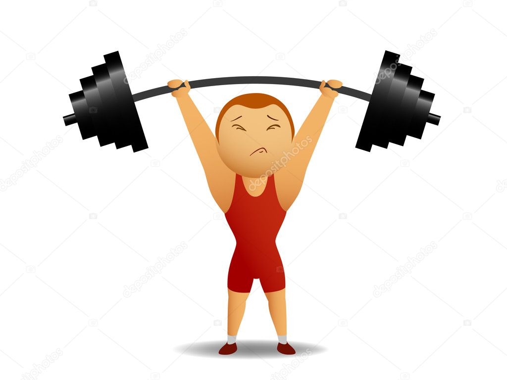 Vector illustration. Weightlifter lift up the rod. — Stock Vector #6420814