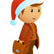 Cartoon christmas businessman with briefcase - Image vectorielle