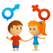 Male and female sign with girl and boy — Stock Vector #6487992