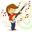 Vector cartoon guitar player with background — Stock Vector