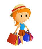 在帽的购物袋可爱美少女 — Stockvektor