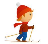 Kleine skiër in rode hoed — Stockvector