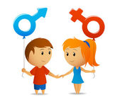 Male and female sign with girl and boy — Stock Vector