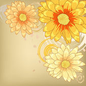 πορτοκαλί λουλούδια με στολίδι σχέδια για ευχετήριες κάρτες — Διανυσματικό Αρχείο
