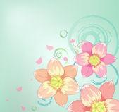 粉色的花与用于贺卡的装饰设计 — 图库矢量图片
