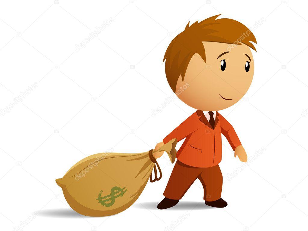Cartoon Businessman In Suit With Money Bag