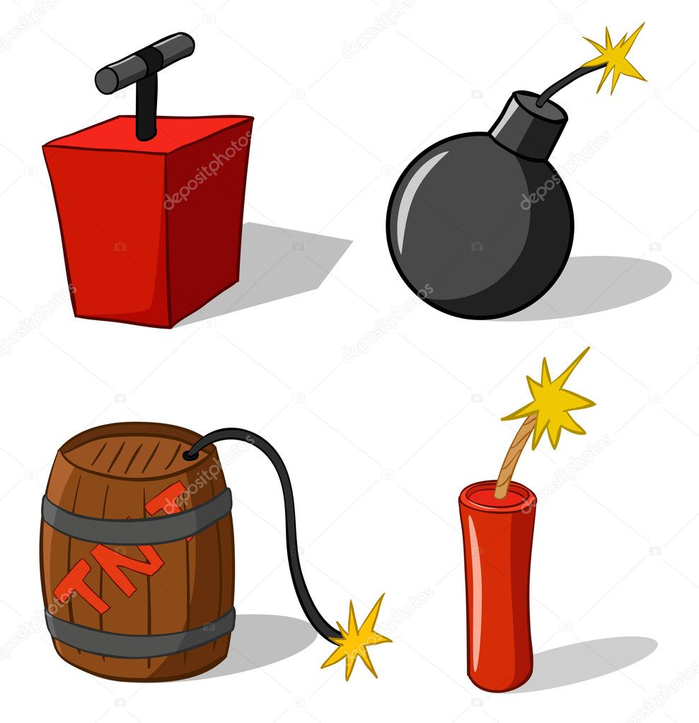 Vector illustration. Explosive bomb with burning fuse  Stock Vector #6488158