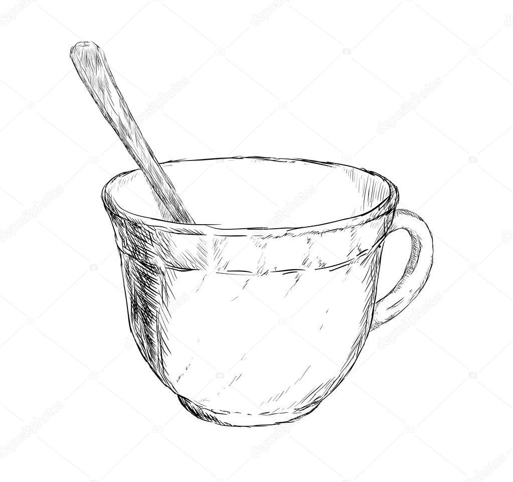Coffee Spoon Drawing Drawing Cup of Coffee or Tea