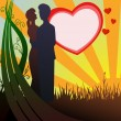 Stock Vector: Man and woman silhouette in love on heart background