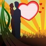 man och kvinna silhuett i kärlek på hjärtat bakgrund — Stockvektor