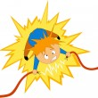Stock Vector: Boy take electricishock on wire