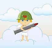 Cupido divertente cartone animato con bazooka armati san valentino — Vettoriale Stock
