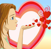 Girl Blowing hearts shape — Stock Vector