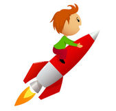 Boy riding red rocket — Stock Vector