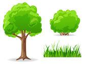 Set of cartoon green plants. Tree, bush, grass. — Stock Vector