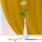 漫画の背景幕と花瓶の花 — ストックベクタ