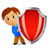 Cartoon illustration of boy with red shield — Stock Vector