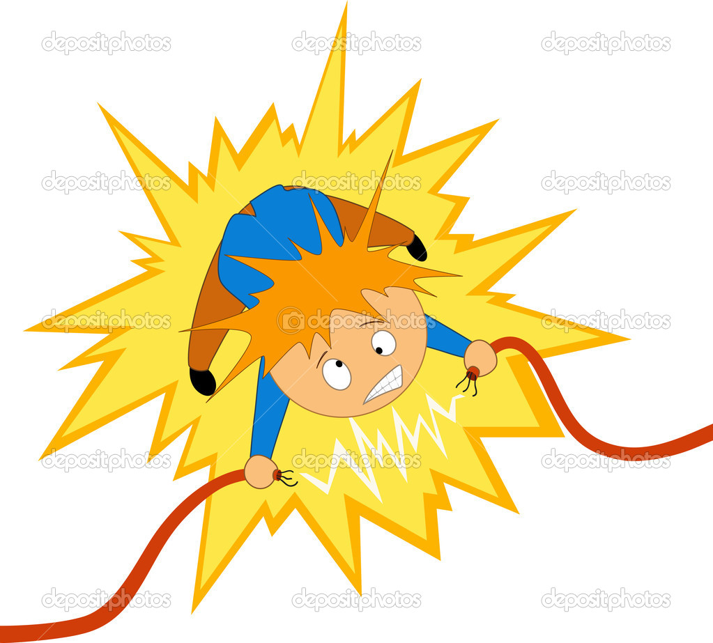 Vector illustration. Cartoon boy take the electrician shock on the wire — Stock Vector #6497064