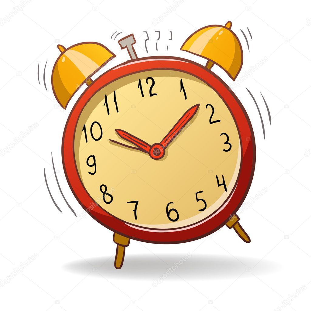 Vector illustration. Cartoon red alarm clock with gold bells — Stock Vector #6497124