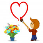 Cartoon boy drawing heart shape with paintbrush — Stock Vector