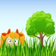 Cartoon little girl hide in grass — Stock Vector