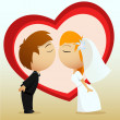 Cartoon bride and groom kiss — Stock Vector