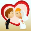 Cartoon bride and groom kiss — Stock Vector #6737353
