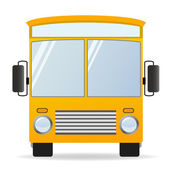 Cartoon yellow bus in front view — Stock Vector