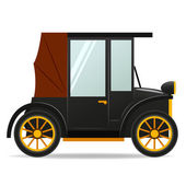 Cartoon old retro car in black color — Stock Vector