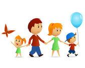 Kreskówka szczęśliwą rodzinę na spacer — Wektor stockowy