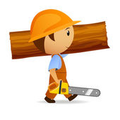 Cartoon woodcutter with chain-saw and trunk — Stock Vector