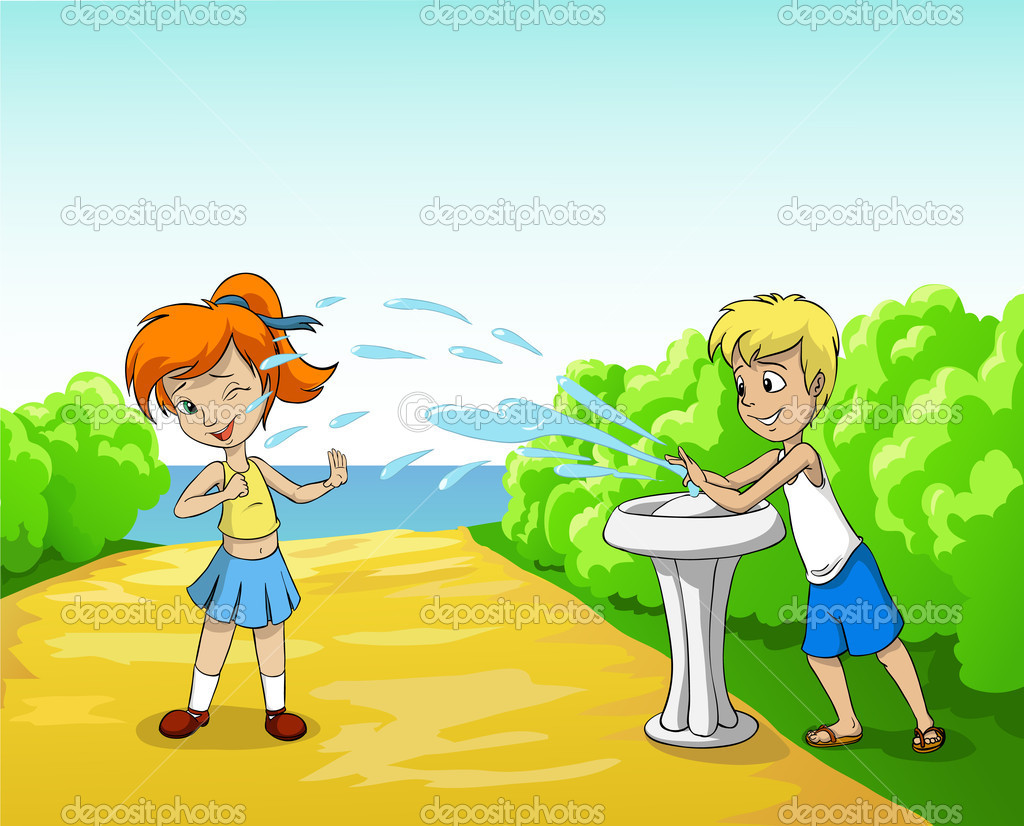 Kids play with water in summer day stock illustration