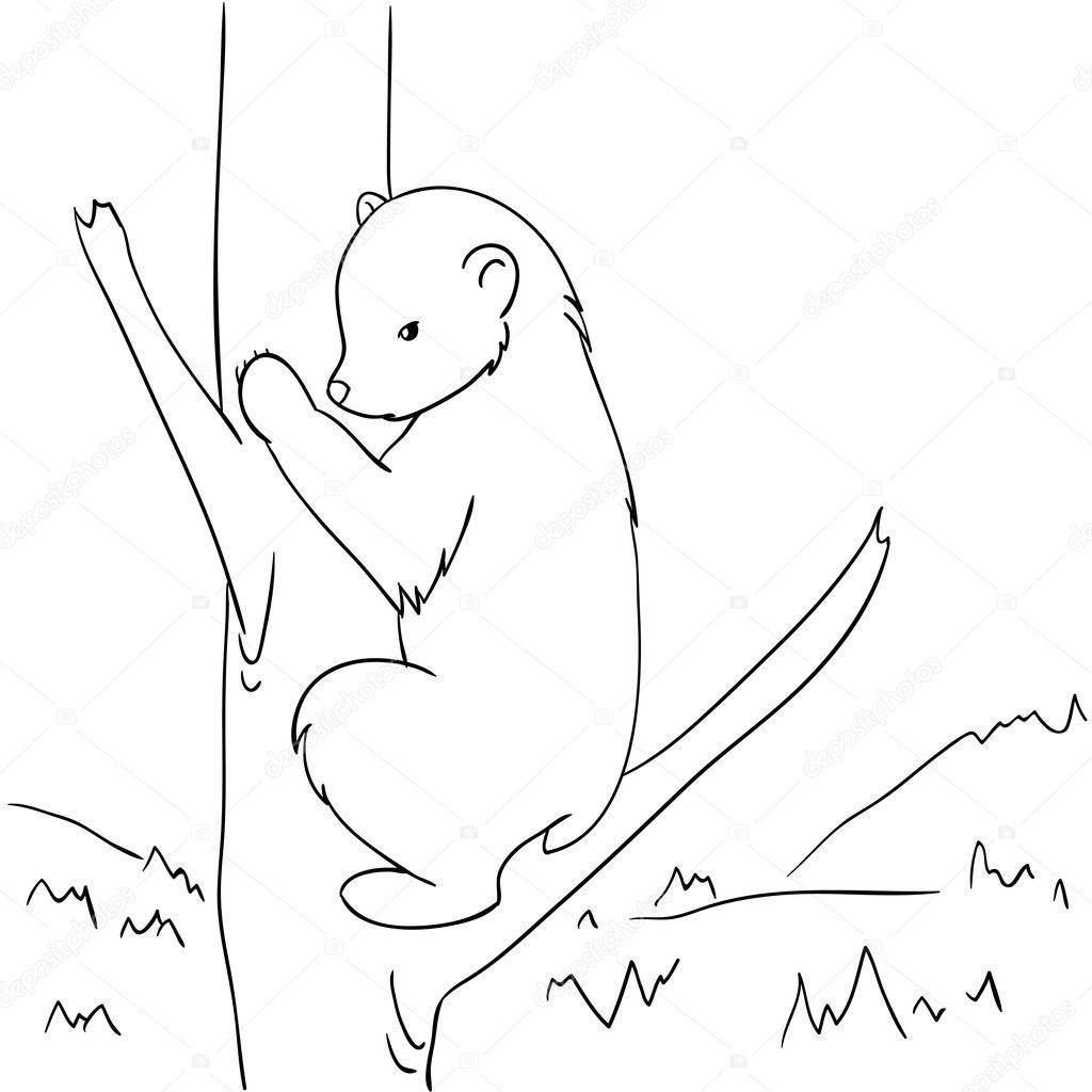 Рисунок кота лезущего на дерево 3