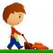 Man cutting the grass with lawn mower — Stock Vector
