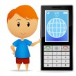 Boy with cell phone — Stock Vector