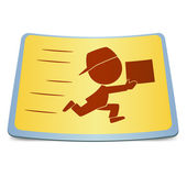 Cartoon label fast delivery — Stock Vector