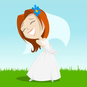Cartoon happy bride on green grass — Stock Vector