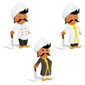 Set of cartoon indian cook chef with moustache — Stock Vector