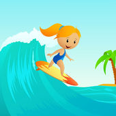 Cartoon cute little girl surfing on waves — Stock Vector