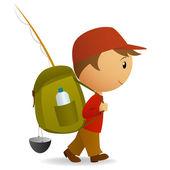 Cartoon journey man with big backpack — Stock Vector