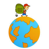 Cartoon travel man with backpack around world — Stock Vector