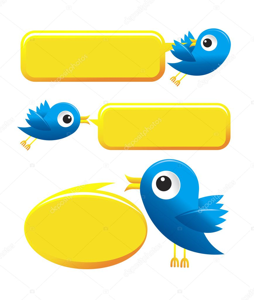 Illustration of Twitter Birds on white background  Stock Vector #6367663