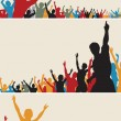 Color crowd silhouettes — Stock Vector