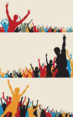 Color crowd silhouettes — Stockvector