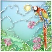 Batik parrot — Stock Vector